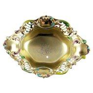 Antique Dish Gilt Enamel Sterling Silver Gorham 1895