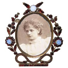 Victorian Small Bohemian Garnet and Opal Photo Frame