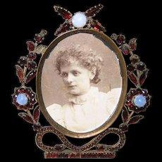 Victorian Small Bohemian Garnet and Opal Photo Frame