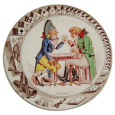 Antique German Plate Playing Card Gambling – French Subjects