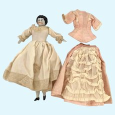 Antique German Porcelain Doll Two Outfits 9 Inch