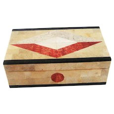 Vintage Geometric Inlaid Stone Box