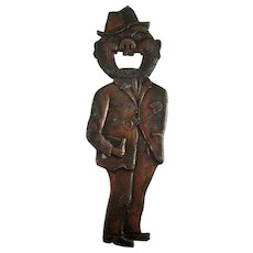 Large Vintage Figural Bottle Opener Tramp, Hobo, Man – 8 ½""