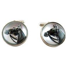 Pair Vintage Equestrian Horse Essex Crystal Sterling Silver Cufflinks - Vincent Simone