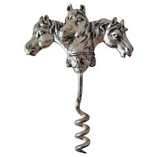 Vintage Three Horse Heads Corkscrew – Silver Plate