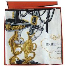 Authentic Hermes Brides De Gala Silk Scarf in Box - Horse Bridles