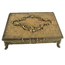 Vintage Globe Engraved Gold Tone Jewelry Casket Box