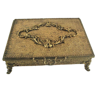 Vintage Globe Engraved Gold Tone Jewelry Casket Box