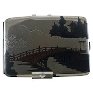 Vintage Japanese  Sterling Silver Cigarette Case  Mixed Metal -  Bridge