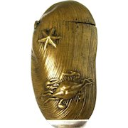 Japanese Brass Match Safe Mussel Clam Shell applied Crab