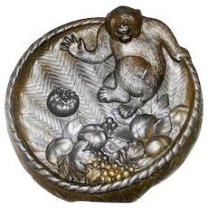 Meiji Japanese Metalwork Monkey in Basket Fruit Wasp Change Tray