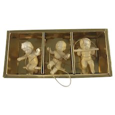 1950's Japan Porcelain 3 Swinging Angels Hanging Ornaments in Box