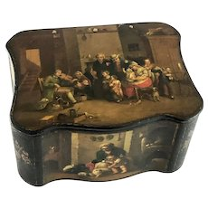 19th Century Hand Painted Papier Mache Box – Family Scene