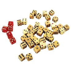 Lot 40 Vintage Dice plus 5 Red Bakelite
