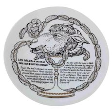 Fornasetti Les Ioles Sausage Improbable Recipe Plate for Fleming Joffe Leather Co.