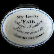 Battersea Bilston English Enamel – I Adore – Motto Patch Box – c 1790