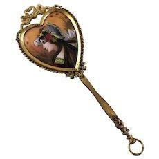 Antique Signed Limoges Portrait Enamel Hand Mirror Dore Bronze Heart Shaped