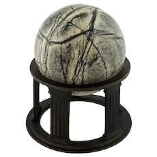 Grand Tour Solid Green Marble Sphere on Bronze Column Base