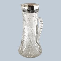 Mauser Sterling Silver Cut Crystal Pitcher circa 1890