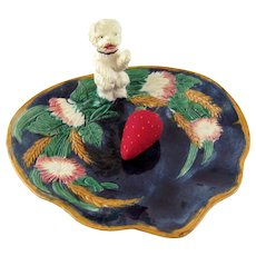 Antique English Majolica Bowl with Standing Dog - Registry Marks