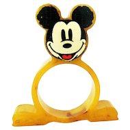 Rare Mickey Mouse Bakelite Napkin Ring - Butterscotch