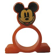 Rare Mickey Mouse Bakelite Napkin Ring - Orange