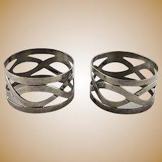 Pair Vintage Sterling Silver Napkin Rings