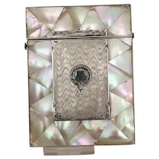 Victorian Mother of Pearl and Silver Calling Card Case Palais Royale