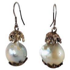 Large Cultured Baroque Pearl Drop Earrings Silver Gilt