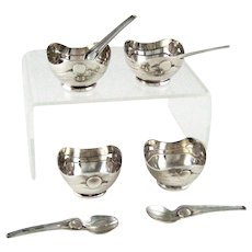 Set Four Sterling Silver Open Salts with Spoons - Mid Century – Mexican - Conquistador