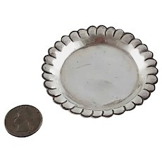 Vintage Round Miniature Tray Mexico Sterling Silver