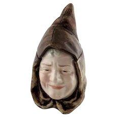 Austrian Majolica Figural Hooded Monk Humidor Tobacco Jar