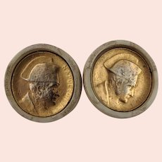 Two Vintage Gilt Metal Buttons General Napoleon Bonaparte
