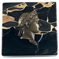 ON HOLD. Antique Napoleon Bonaparte Bronze Marble Paperweight
