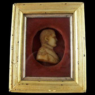 Napoleon Bonaparte Wax Portrait Miniature 19th Century