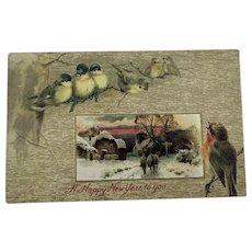 Happy New Year Postcard Birds Scene
