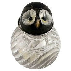 Antique Heavy Crystal Cologne Bottle Owl Top Reverse Carved Lucite