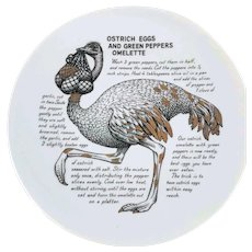 Fornasetti Ostrich Eggs Omelette Improbable Recipe Plate for Fleming Joffe Leather Co.