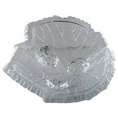 Vintage Footed Leaf Figural Glass Open Salt Dish