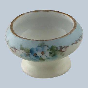 Antique Porcelain Open Salt Blue Flowers O&EG Austria