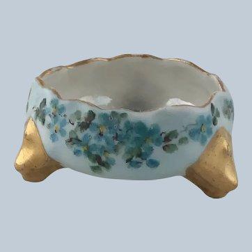 Antique Porcelain Open Salt Blue Flowers Austria