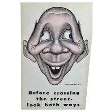 R. Hassler – Before crossing the street – look both ways - Post Card – Progressive Publications