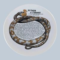 Fornasetti Python A L'Orange Improbable Recipe Plate for Fleming Joffe Leather Co.