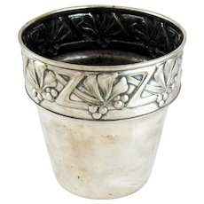 Art Nouveau Jugendstil Plant Pot Mistletoe Silver Plate on Copper