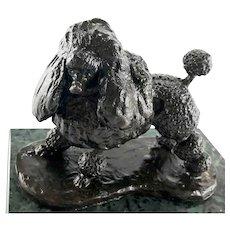 Signed Vintage Poodle Bronze Marble Base