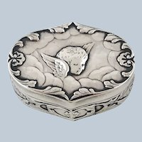C 1897 Reynolds Angels Repousse Sterling Silver Trinket Box William Comyns