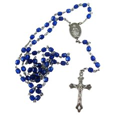 "Vintage Rosary with Blue Crystal Beads ""O Mary Conceived without Sin"""