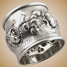 Repousse Roses Napkin Ring Sterling Silver Simons 1908
