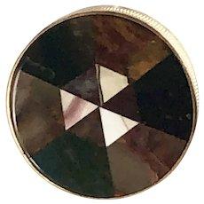 Round Scottish Plaid Inlaid Agate Chalcedony Snuff Box – Victorian