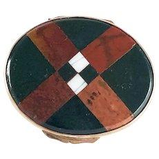 Plaid Scottish Inlaid Bloodstone Chalcedony Agate Snuff Box – Victorian